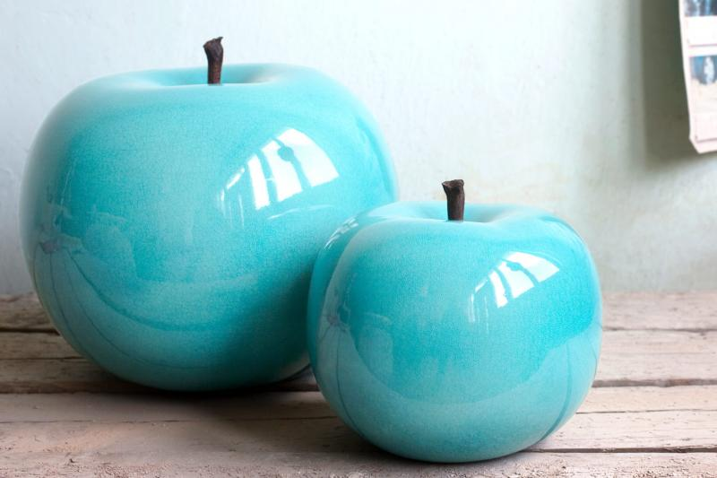 Ceramic Apple Sculpture Natural Stem
