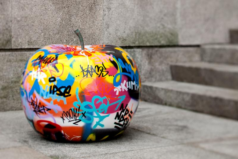 Original Graffiti Giant Apple Sculpture