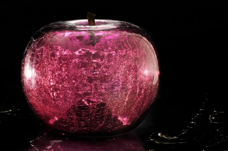 crackled glass apple decoration